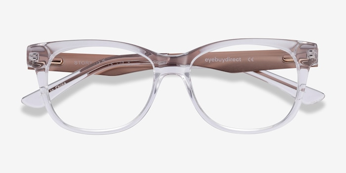 Story Clear Metal Eyeglass Frames from EyeBuyDirect, Closed View