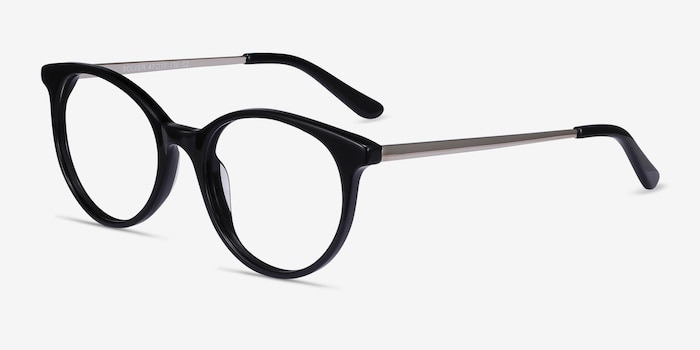Solver Black Acetate-metal Eyeglass Frames from EyeBuyDirect, Angle View