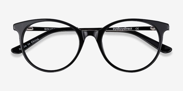 Solver Black Acetate-metal Eyeglass Frames from EyeBuyDirect, Closed View