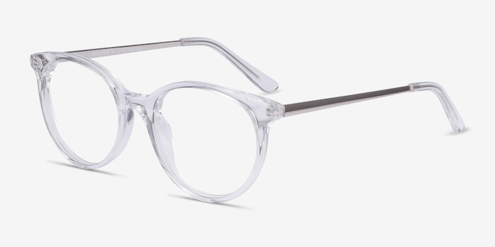 Solver Clear Acetate Eyeglass Frames from EyeBuyDirect, Angle View