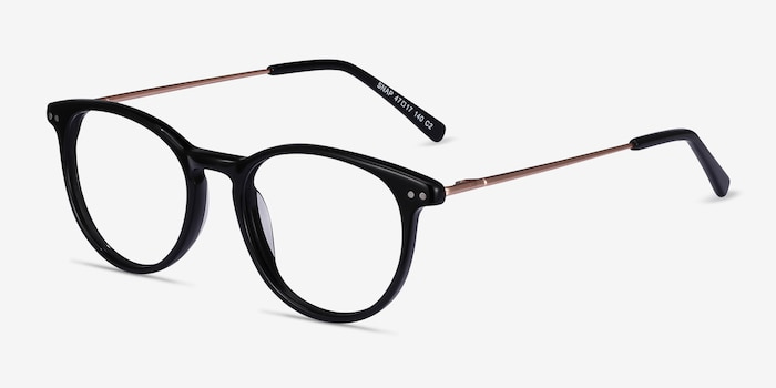 Snap Black Acetate-metal Eyeglass Frames from EyeBuyDirect, Angle View