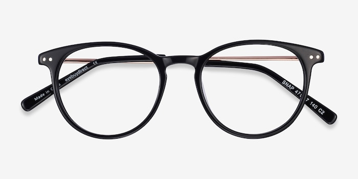 Snap Black Acetate-metal Eyeglass Frames from EyeBuyDirect, Closed View