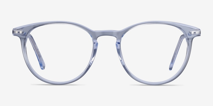 Snap Clear Blue Acetate-metal Eyeglass Frames from EyeBuyDirect, Front View