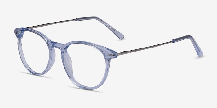 Snap Clear Blue Acetate-metal Eyeglass Frames from EyeBuyDirect, Angle View