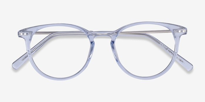 Snap Clear Blue Acetate-metal Eyeglass Frames from EyeBuyDirect, Closed View
