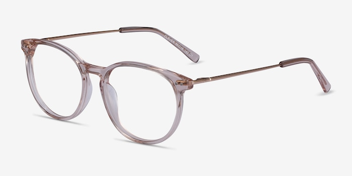 Clever Pink Acetate Eyeglass Frames from EyeBuyDirect, Angle View