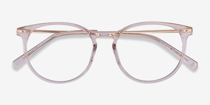 Clever Pink Acetate Eyeglass Frames from EyeBuyDirect, Closed View