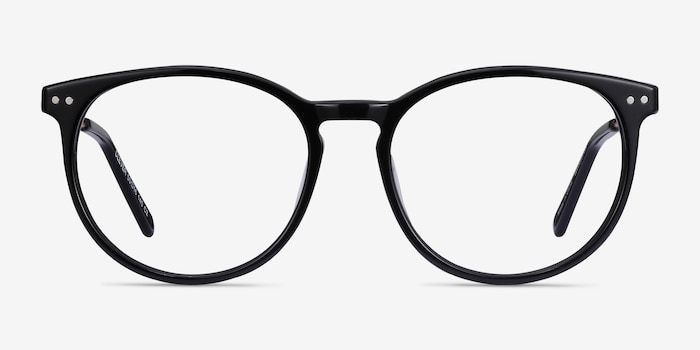 Clever Black Metal Eyeglass Frames from EyeBuyDirect, Front View