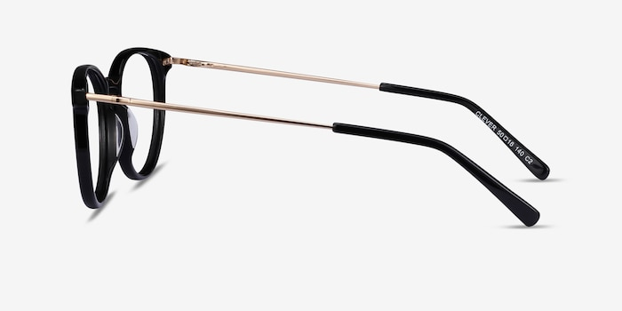 Clever Black Metal Eyeglass Frames from EyeBuyDirect, Side View