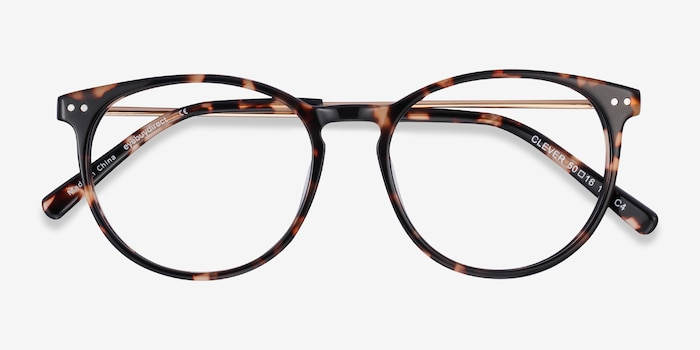Clever Tortoise Acetate Eyeglass Frames from EyeBuyDirect, Closed View