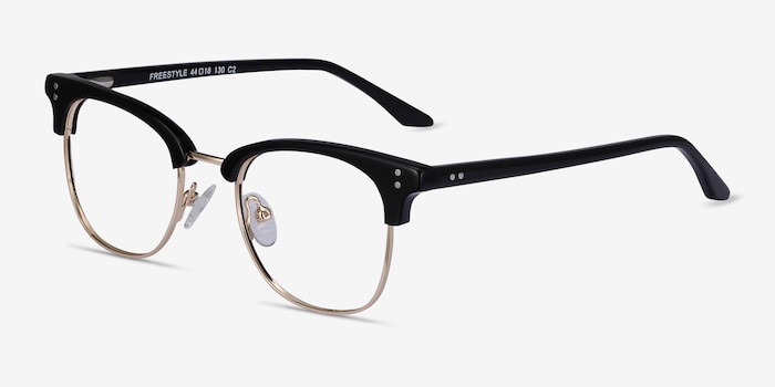 Freestyle Black Acetate-metal Eyeglass Frames from EyeBuyDirect, Angle View