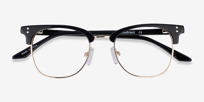 Freestyle Black Metal Eyeglass Frames from EyeBuyDirect, Closed View