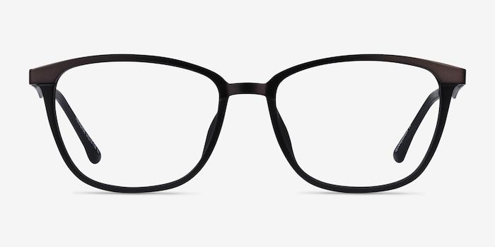 Traverse Gunmetal Black Metal Eyeglass Frames from EyeBuyDirect, Front View