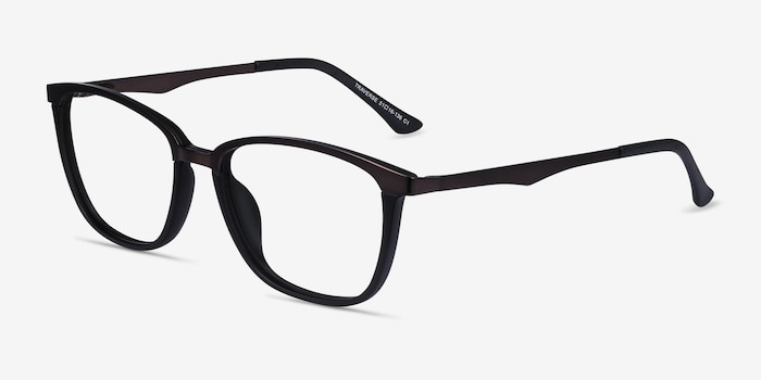 Traverse Gunmetal Black Metal Eyeglass Frames from EyeBuyDirect, Angle View