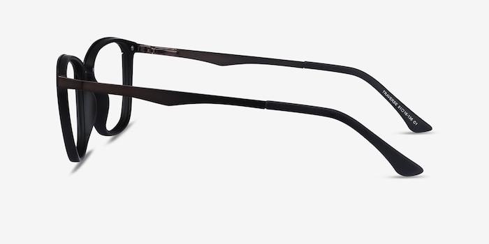 Traverse Gunmetal Black Metal Eyeglass Frames from EyeBuyDirect, Side View