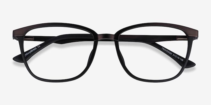 Traverse Gunmetal Black Metal Eyeglass Frames from EyeBuyDirect, Closed View