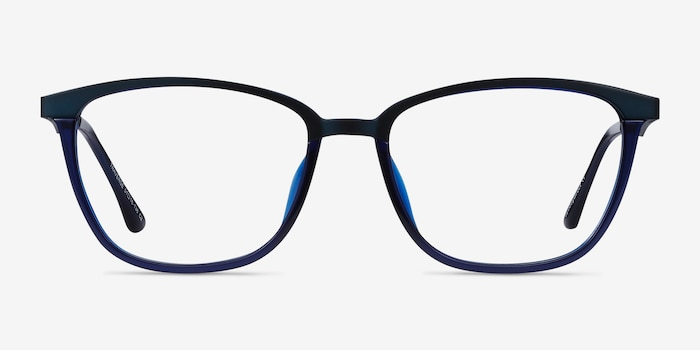 Traverse Navy Acetate-metal Eyeglass Frames from EyeBuyDirect, Front View