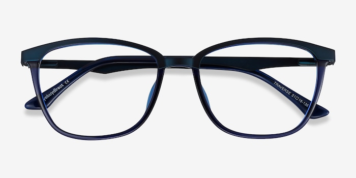 Traverse Navy Acetate-metal Eyeglass Frames from EyeBuyDirect, Closed View