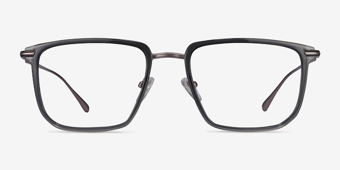 Glimpse Gray Metal Eyeglass Frames from EyeBuyDirect, Front View