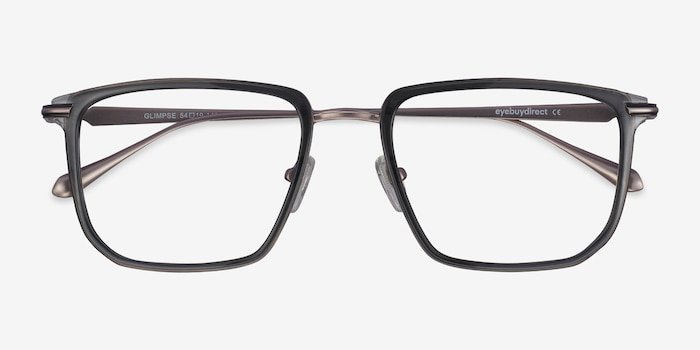 Glimpse Gray Metal Eyeglass Frames from EyeBuyDirect, Closed View