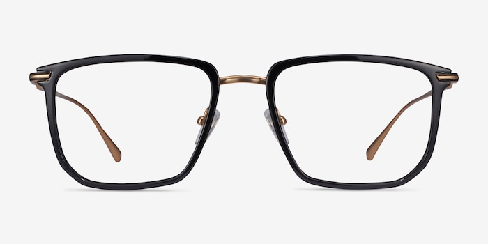 Glimpse Black gold Acetate Eyeglass Frames from EyeBuyDirect, Front View