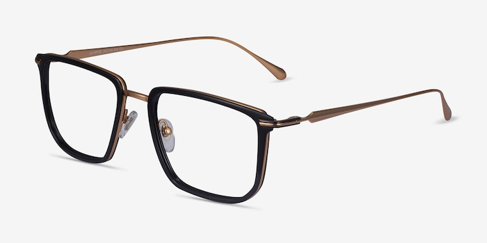 Glimpse Black gold Acetate-metal Eyeglass Frames from EyeBuyDirect, Angle View