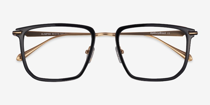 Glimpse Black gold Acetate Eyeglass Frames from EyeBuyDirect, Closed View