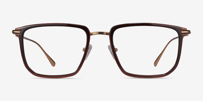 Glimpse Brown gold Metal Eyeglass Frames from EyeBuyDirect, Front View