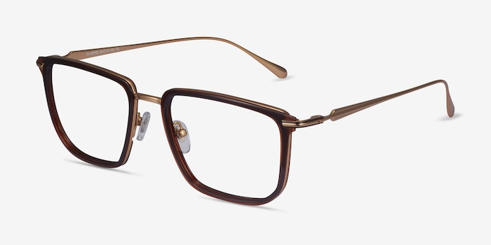 Glimpse Brown gold Metal Eyeglass Frames from EyeBuyDirect, Angle View