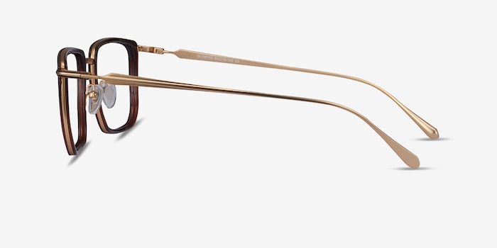 Glimpse Brown gold Metal Eyeglass Frames from EyeBuyDirect, Side View