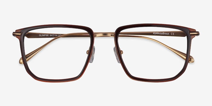 Glimpse Brown gold Metal Eyeglass Frames from EyeBuyDirect, Closed View
