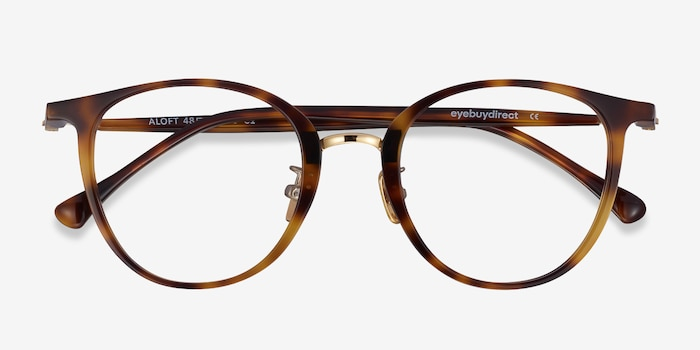 Aloft Light Tortoise Metal Eyeglass Frames from EyeBuyDirect, Closed View
