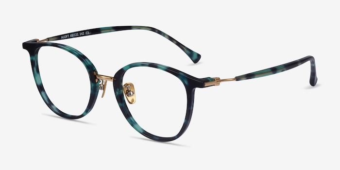 Aloft Green Floral Acetate Eyeglass Frames from EyeBuyDirect, Angle View