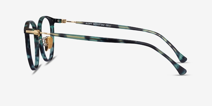 Aloft Green Floral Acetate Eyeglass Frames from EyeBuyDirect, Side View