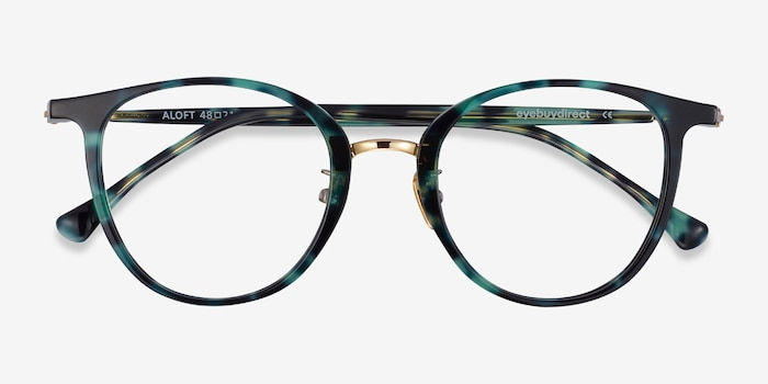 Aloft Green Floral Acetate Eyeglass Frames from EyeBuyDirect, Closed View