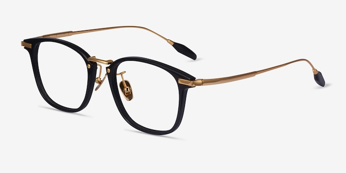 Terra Black Acetate Eyeglass Frames from EyeBuyDirect, Angle View
