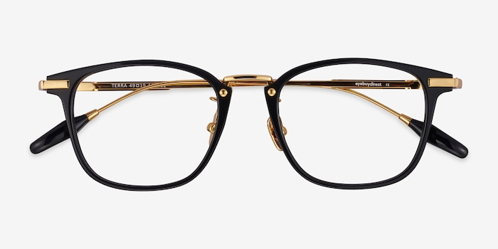 Terra Black Acetate Eyeglass Frames from EyeBuyDirect, Closed View
