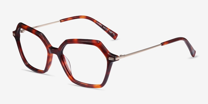 Carmel Tortoise Metal Eyeglass Frames from EyeBuyDirect, Angle View