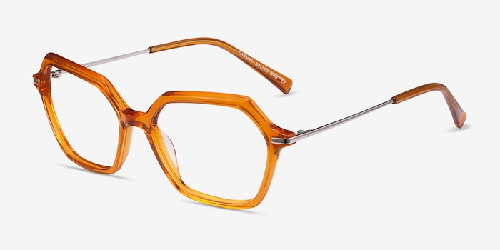 Carmel Mustard Acetate-metal Eyeglass Frames from EyeBuyDirect, Angle View