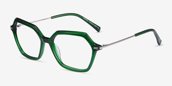 Carmel Green Acetate-metal Eyeglass Frames from EyeBuyDirect, Angle View