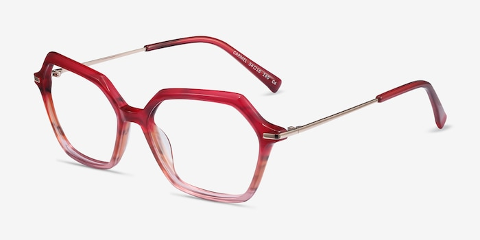Carmel Raspberry Striped Acetate Eyeglass Frames from EyeBuyDirect, Angle View