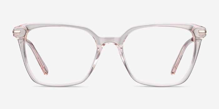 Dearly Clear Beige Acetate-metal Eyeglass Frames from EyeBuyDirect, Front View