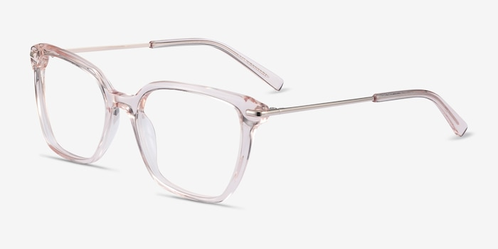 Dearly Clear Beige Acetate-metal Eyeglass Frames from EyeBuyDirect, Angle View