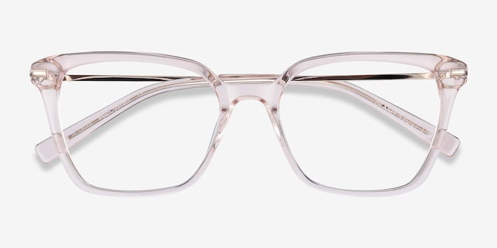 Dearly Clear Beige Acetate-metal Eyeglass Frames from EyeBuyDirect, Closed View
