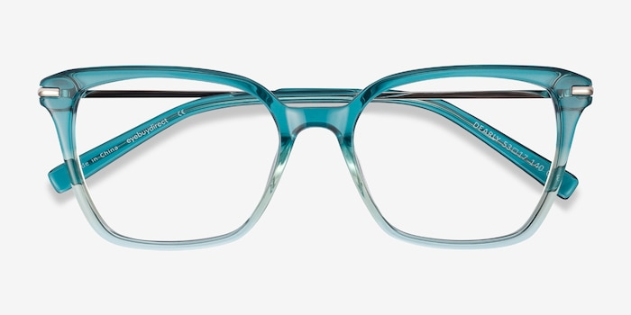 Dearly Green Acetate Eyeglass Frames from EyeBuyDirect, Closed View