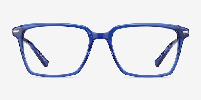 Sense Blue Acetate-metal Eyeglass Frames from EyeBuyDirect, Front View
