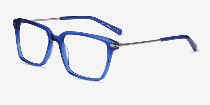 Sense Blue Acetate-metal Eyeglass Frames from EyeBuyDirect, Angle View