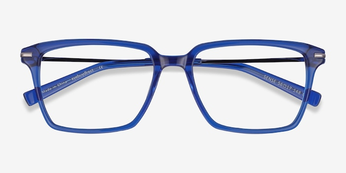 Sense Blue Acetate-metal Eyeglass Frames from EyeBuyDirect, Closed View