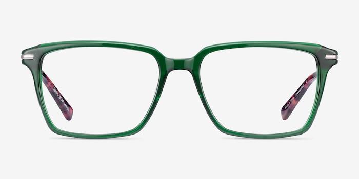 Sense Green Metal Eyeglass Frames from EyeBuyDirect, Front View