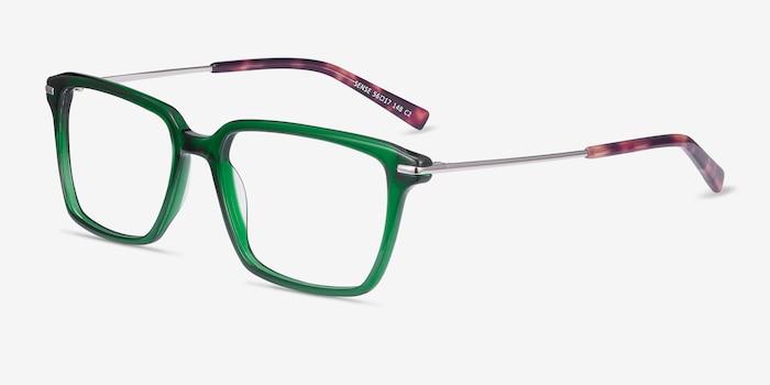 Sense Green Metal Eyeglass Frames from EyeBuyDirect, Angle View